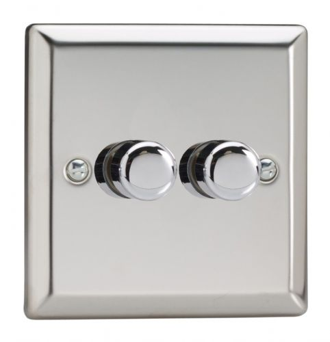 Varilight JCP252 Classic Mirror Chrome 2 Gang 2-Way Push-On/Off LED Dimmer 0-120W V-Pro